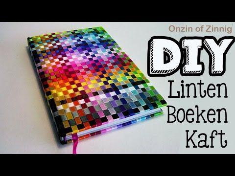 Diy ribbon book cover tutorial, woven rainbow book cover linten boeken video