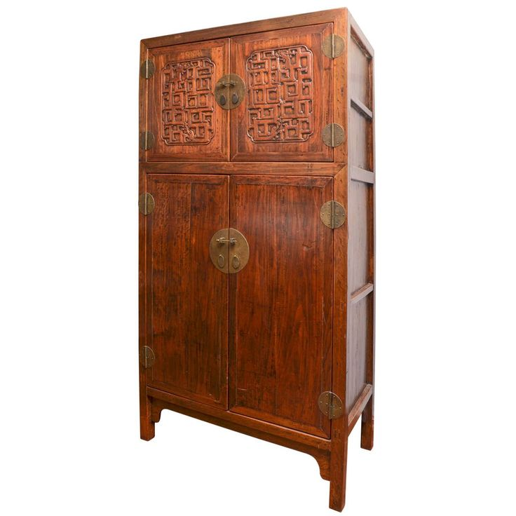 Late 18th Century Qing Dynasty Shanxi Carved Walnut Compound Cabinet | From a unique collection of antique and modern wardrobes and armoires at https://www.1stdibs.com/furniture/storage-case-pieces/wardrobes-armoires/