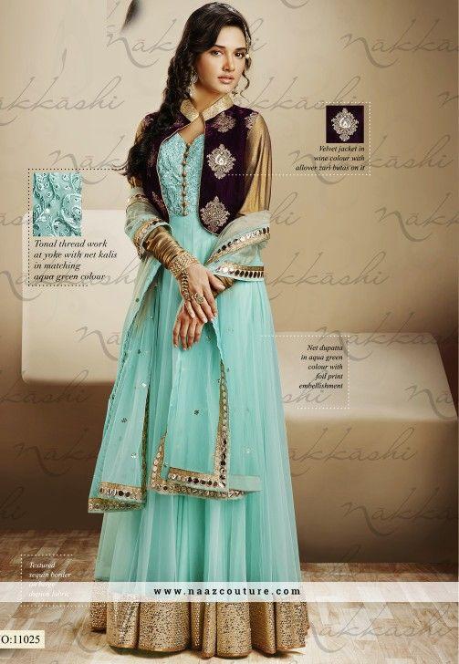 Unique Aqua green Wedding Wear Jacket Style Anarkali Salwar Suit