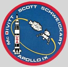 Apollo 9 mission patch  Astronauts James McDivitt, David Scott, and Russell Schweickart launched on March 3, 1969