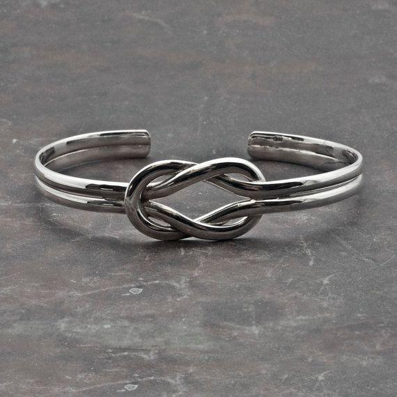 Sterling Silver Knot Cuff Bracelet Sailors Knot by SunSanJewelry
