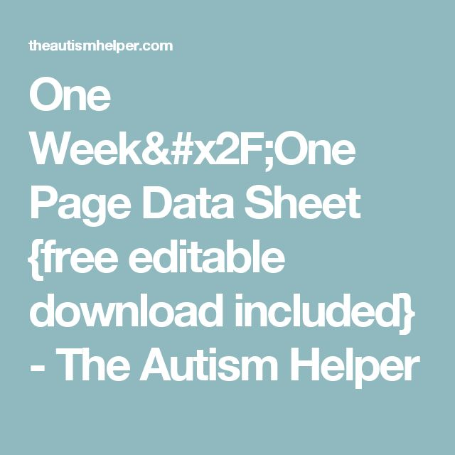One Week/One Page Data Sheet {free editable download included} - The Autism Helper