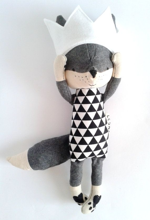 THEO the fox. made-to-order. fox with a crown. wool fox. eco fox. gift for children. stuffed fox. toy fox. kids room decorative fox.