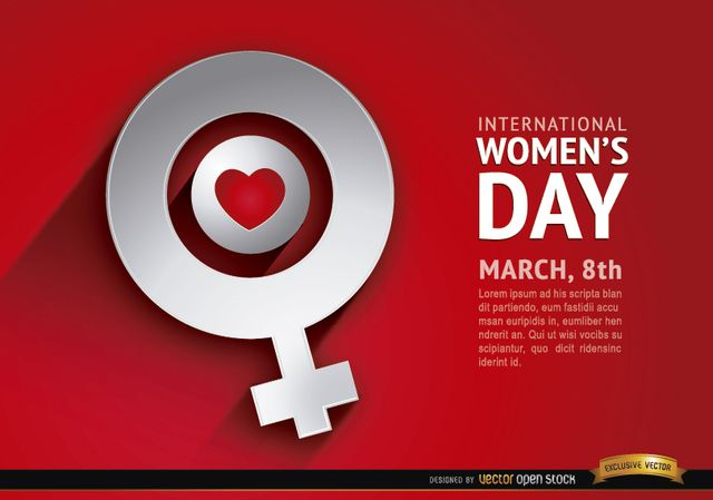 We all love women and the things they do for this world to be a better place. This red background with a heart inside the female symbol is perfect to honor them in their day; use it in your promos, campaigns, and give your best message to all women around. High quality JPG included. Under Commons 4.0. Attribution License.