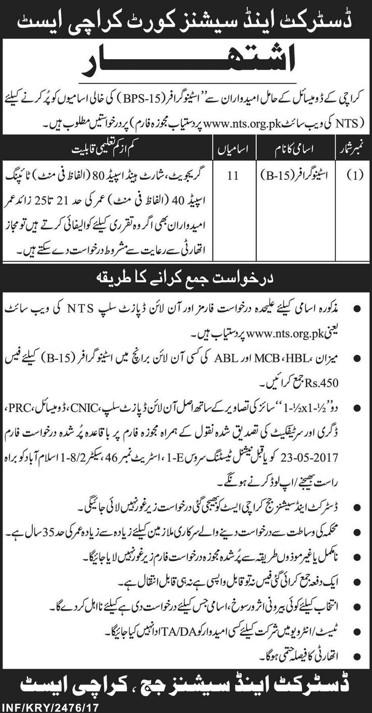 District and Session Court Karachi Jobs for Stenographer