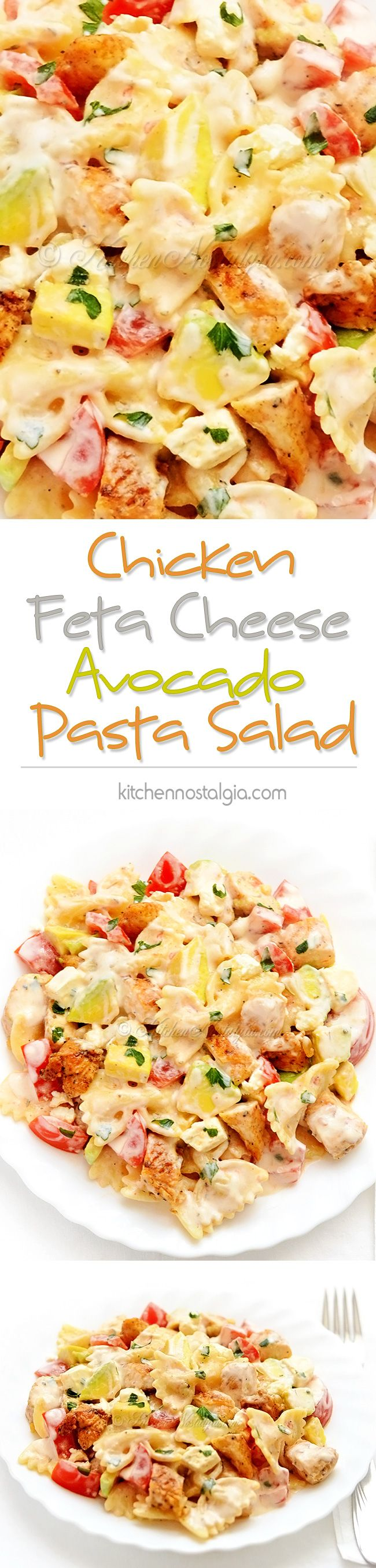 Chicken Feta Cheese Pasta Salad with avocados, tomatoes and creamy dressing; incredibly good for lunch or your picnic table; better than deli salad!