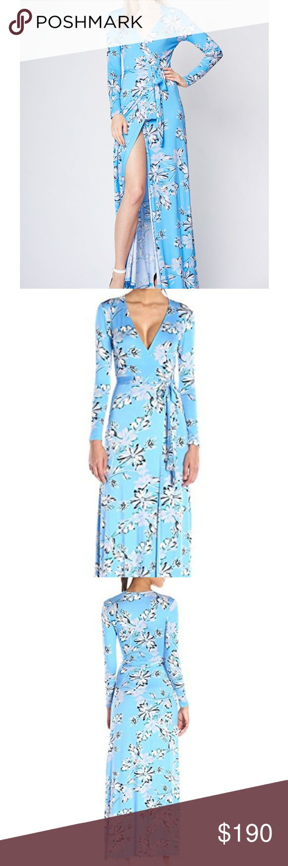 Yumi Kim Jersey Maxi Dandelion Blue- wrap silhouette gown. Long sleeves. Unlined. Size Medium   Fabric is soft Jersey. - Super soft!   95% Rayon and 5% Spandex. Dry clean only.  Made in USA 58 inches long. Yumi Kim Dresses Maxi