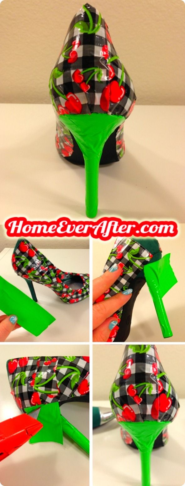 How to Make Duck Tape Shoes at Home Ever After. http://www.homeeverafter.com/how-to-make-retro-pinup-duck-tape-shoes/ #homeeverafter #fashion #diy