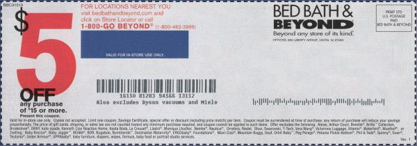 Bed Bath and Beyond Coupon 5$ Off