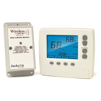 "Jackson Systems WCT-32 Wireless Comfort Programmable Thermostat by Jackson Systems. Save 17 Off!. $179.95. Jackson Systems WCT-32 Wireless Comfort Thermostat The WCT-32 is a 7-day programmable, battery powered thermostat that communicates via an RF wireless data link to a relay control module located near the HVAC equipment.   Control module must be wired with 24V ""common"" wire to provide power.  BENEFITS: Eliminates costly installation of wiring a thermostat to the HVAC s..."