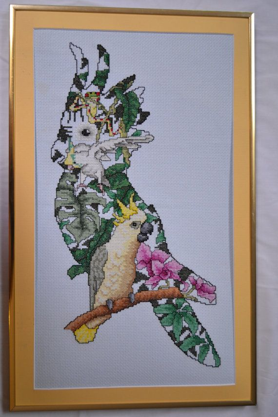 Cockatoo Finished/Framed Counted Cross Stitch by mylilsmidget, $45.00: Cross Stitch