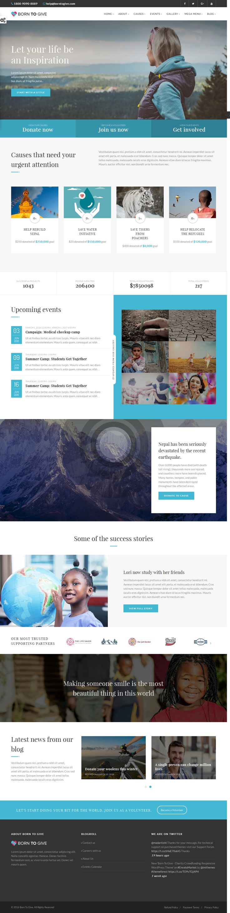 Born to Give is a full functional WordPress Theme designed & developed for #Crowdfunding, #Charity or Non Profit #Websites and comes handy for Corporate Business Websites as well.