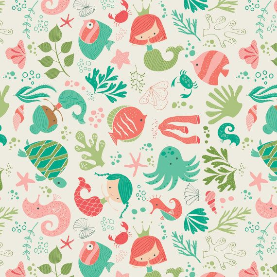 Mermaid Fabric-Under the Sea Cotton Fabric-Modern Quilting Fabric-Coral-Turquoise-Sea Creatures