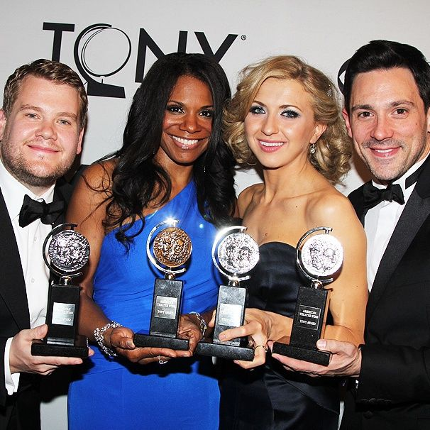 James Corden, Audra McDonald, Nina Arianda and Steve Kazee celebrate with their new Tony Awards!