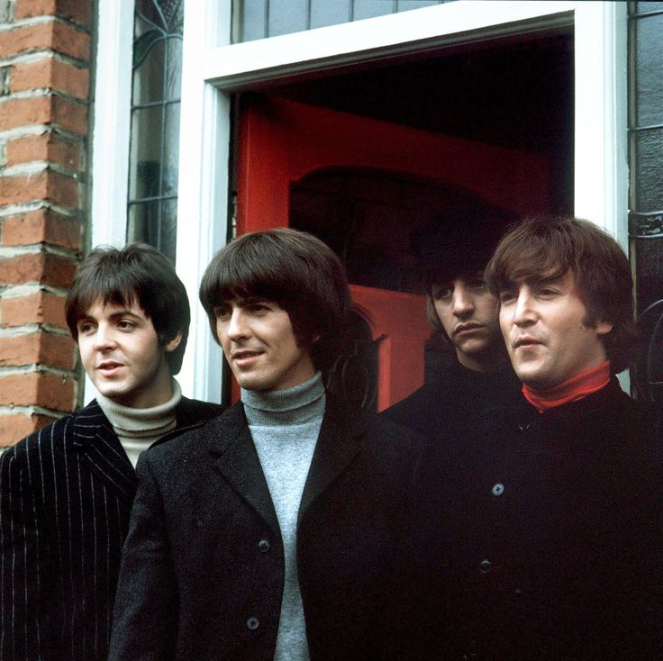 15th April 1965. The Beatles photographed on location in London during the filming of 'Help!'