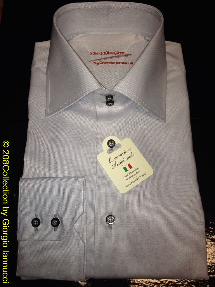 #208Collection #tailor_made #shirt of #canclini #grey #oxford 2 ply fine quality #cotton with semi spread #collar 2 buttons angle cut #cuff 2 #buttons entirely #handcrafted #fattoamano #madeinitaly www.208Collection.com info@208collection.com www.facebook.com/208Collection