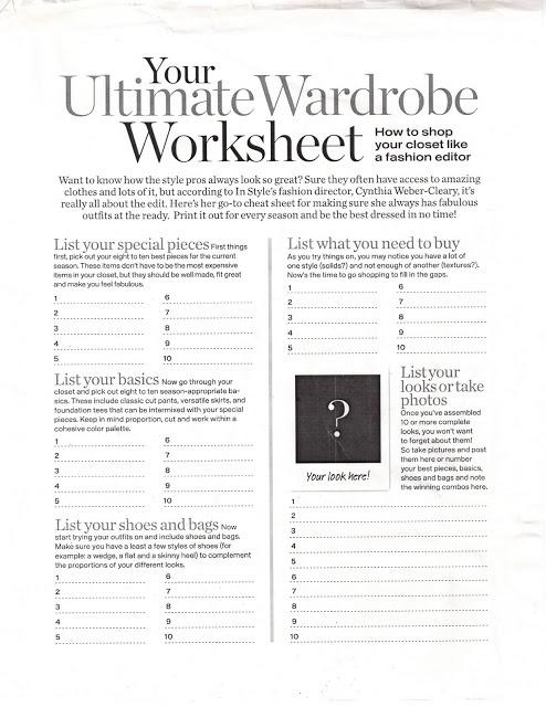 | P | Closet Ultimate Wardrobe Worksheet