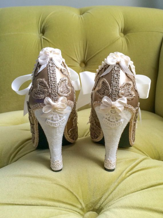 Custom shooties! Hand painted in a metallic sandy champagne gold, and layered in lace appliqué. They are adorned with off white & ivory ribbon bows, and trim. Luscious! High Heel Shooties Party Fantasy Pumps Champagne Antique Gold Ivory Lace Ruffle Wedding Bridal Heels Booties