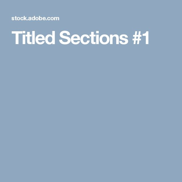 Titled Sections #1