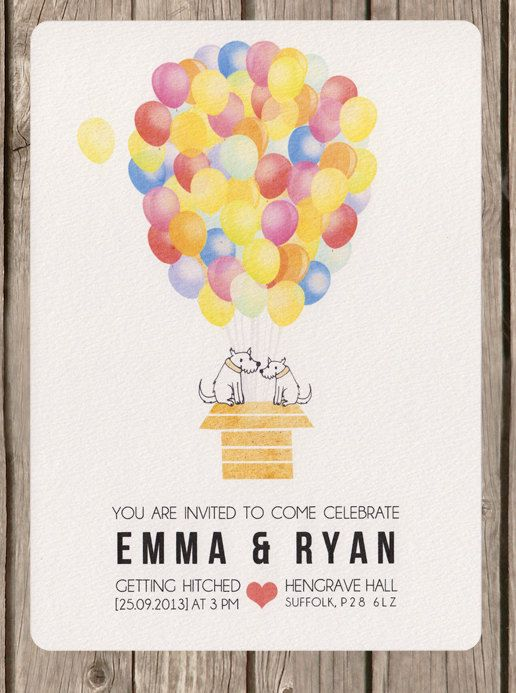 Colourful+balloon+wedding+invitation+by+BeOurGuestDesigns+on+Etsy,+£2.50