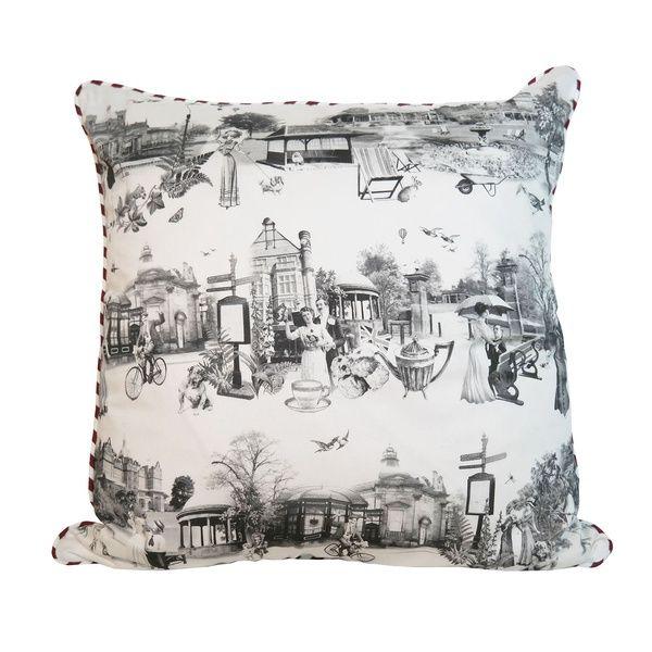 Panoramic Harrogate Toile Print Cushion   Emily Humphrey   Wolf & Badger