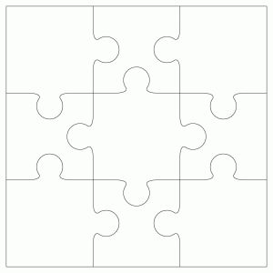 9 piece Jigsaw Template by Bird - make their picture into a puzzle!  Plus lots more on this site.