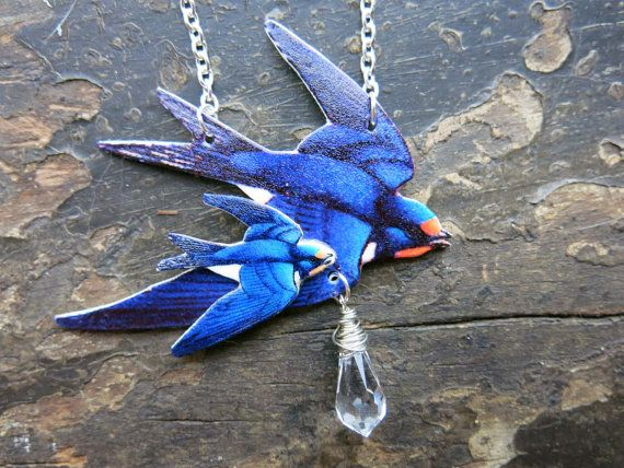 Love Birds Animal Necklace Blue Swallow with Flying Baby Bird