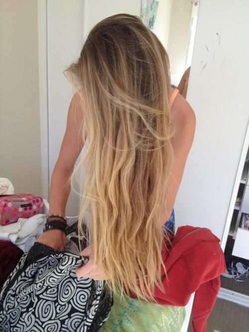 This is like almost my exact hair color! My hair is just a tad bit lighter though! And its this long and this wavy!