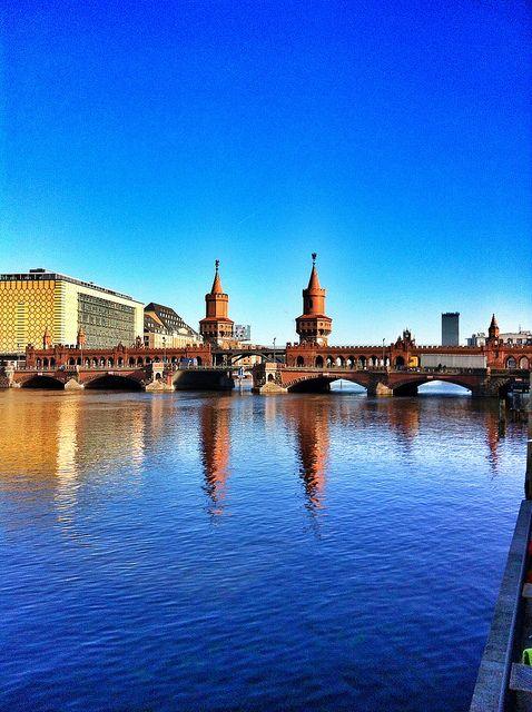 Berlin, Germany. Oberbaum Bridge crossing Berlin's river Spree. http://en.wikipedia.org/wiki/Oberbaum_Bridge