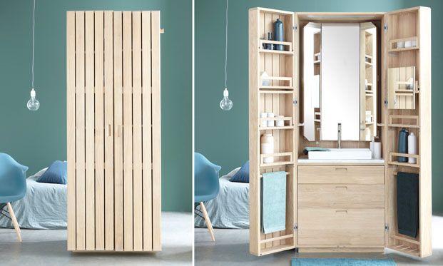 Французская дизайн-студия Line Art спроектировала для производителя La Fonction компактную ванную комнату La Cabine, которая помещается в шкафу.