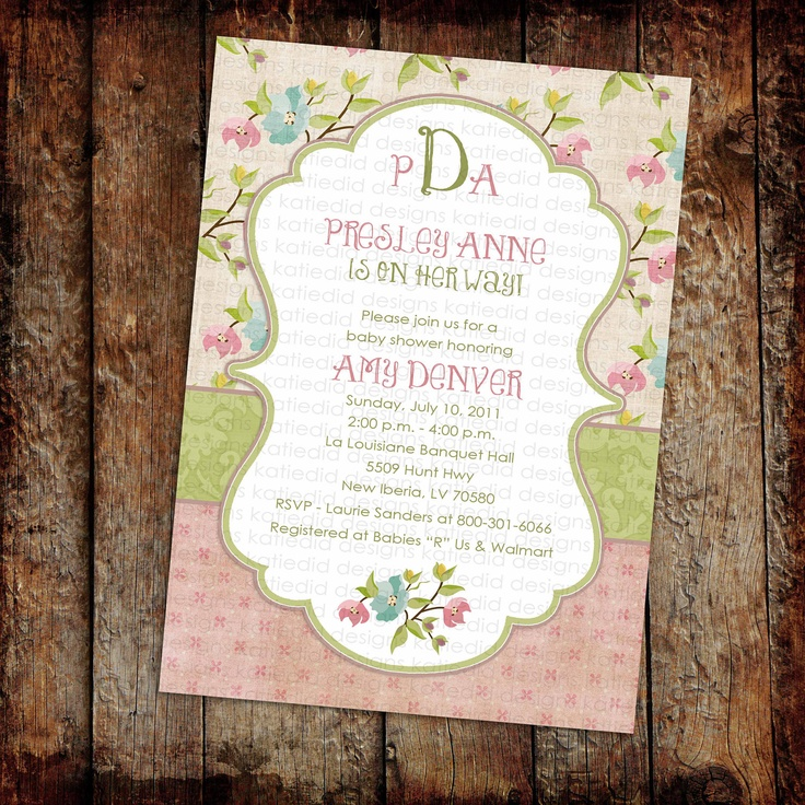 Couples baby shower invitation girl twins floral