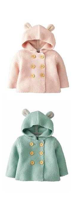 Beautiful knitted jackets with ears for a little girl