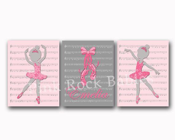 Ballerina nursery decor music nursery wall art by PinkRockBabies