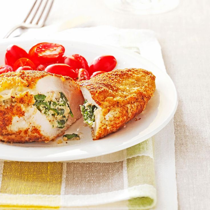 Spinach-Stuffed Chicken Pockets Recipe -With their creamy filling and delightful crispy crust, these elegant entrees are easy enough for weeknights, yet special enough for company, too. —Taste of Home Test Kitchen