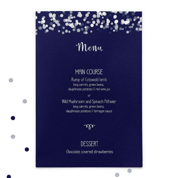 Navy printed wedding menus by GoodEggStationery on Etsy