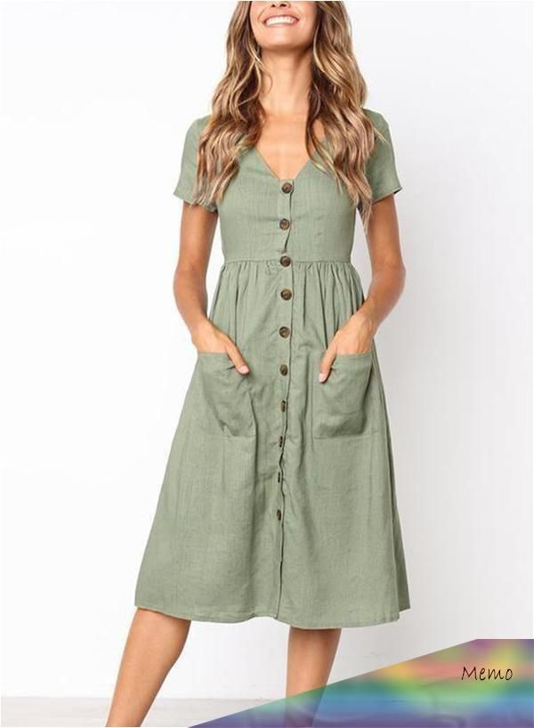 Apr 30 2020 Casual V Neck Buttons Mid Calf Dress A Sevenromance In 2020 Lassiges Kleid Kleidung Mode Kleidung