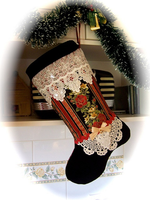 Tis the Season to be decorating. by Created by Cath., via Flickr #christmas, #christmas stocking, #decorating, #vintage lace stocking, #handmade decorations $40.00