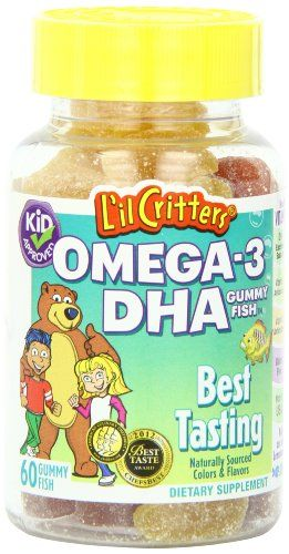 According to recent surveys, 95% of children in the U.S. do not eat a seafood rich diet. Gummy Fish have been specially formulated for kids with 32mg of DHA in each delicious Lemonade, Strawberry Lemonade & Cherryade serving. Made in the USA with natural colors & flavors and high quality, purified fish oil that has been tested for mercury and PCBs. L'il Critters Omega-3 provides valuable antioxidant vitamins C & E. An excellent source of DHA with 100IU of vitamin D3 for bone support*...