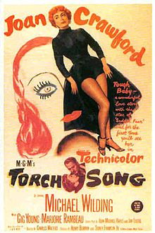 "Torch Song is a 1953 Metro-Goldwyn-Mayer feature film starring Joan Crawford and Michael Wilding in a story about a Broadway star and her rehearsal pianist. The screenplay by John Michael Hayes and Jan Lustig was based upon the story ""Why Should I Cry?"" by I. A. R. Wylie. The film was directed by Charles Walters and produced by Sidney Franklin, Henry Berman, and Charles Schnee."