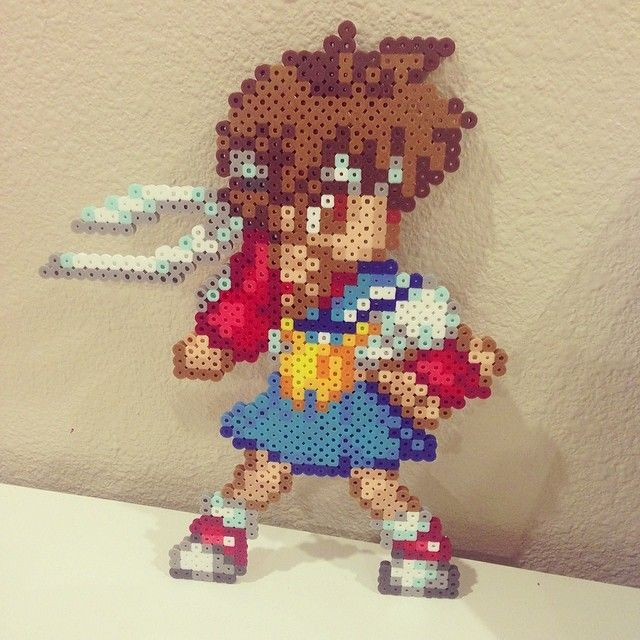 Chun Li Street Fighter perler beads by dorothyklee