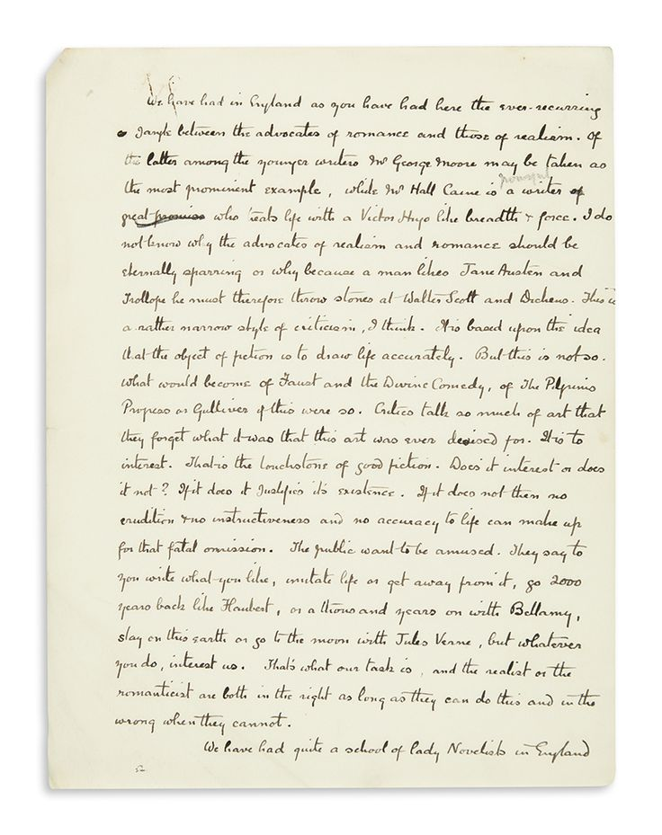 Arthur Conan Doyle. Three drafts of a lecture he delivered during his 1894 North American tour, each incomplete and unsigned, including a fragmentary Autograph Manuscript on 8 pages, and two mostly complete Typescripts with over 18 lines of holograph additions. Together 40 pages, mostly 4to, written on rectos of separate sheets; faint scattered soiling, dog-eared and creased corners, occasional moderate foxing. (MRS) Np, circa 1894.
