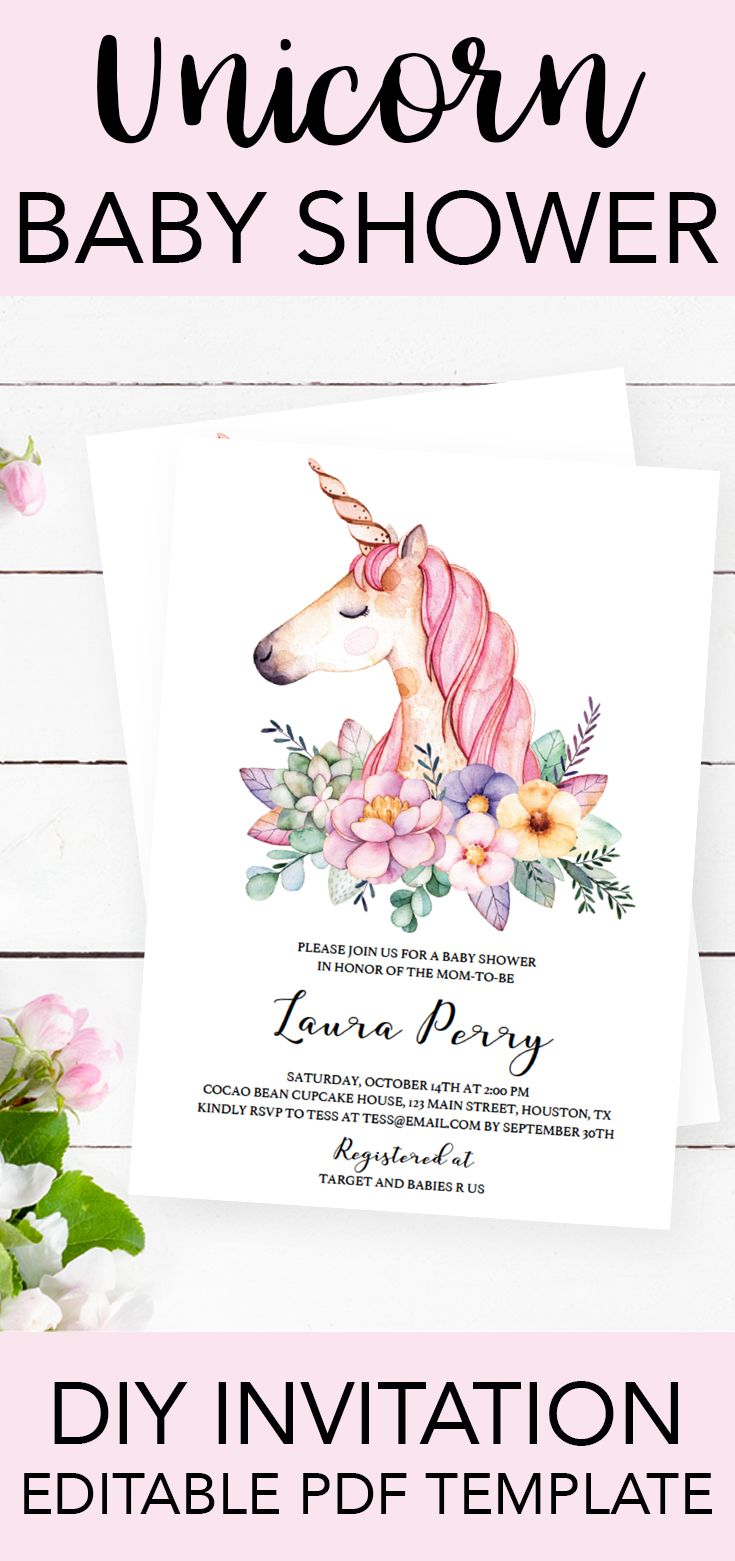 Unicorn baby shower invitation for girls by LittleSizzle. Click through to personalize yours or re-pin for later! Editable invitation template for a unicorn baby shower. Watercolor unicorn invitation. Unicorn themed party invitations. #babyshowerinvitatio