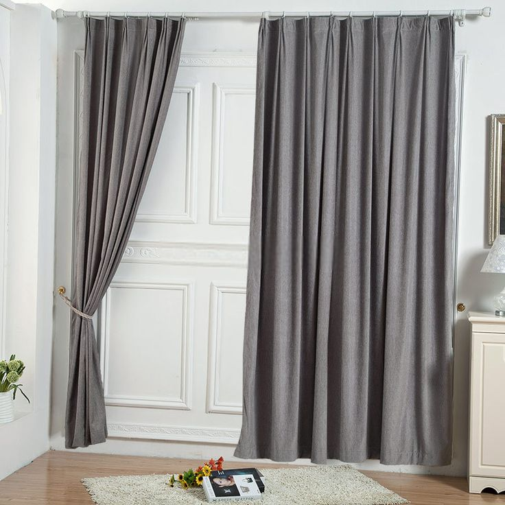 two panels elegant solid grey bedroom curtains