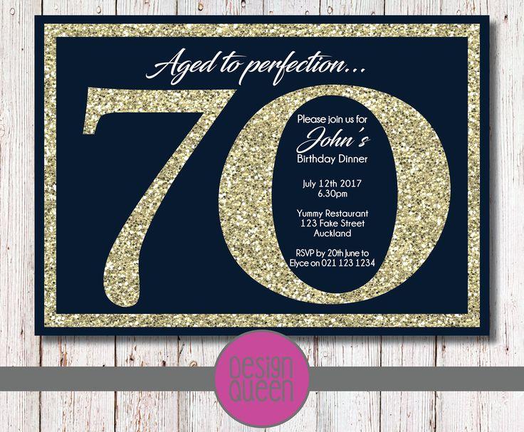Navy and Gold Glitter Birthday Invitation - YOU PRINT custom birthday party invite by QueenOfAdmin on Etsy