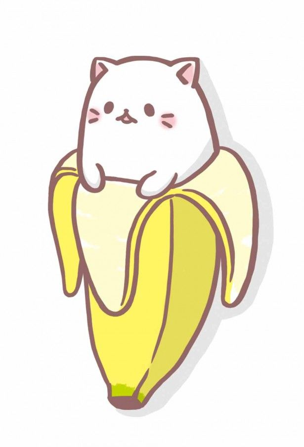 Kawaii cat and banana
