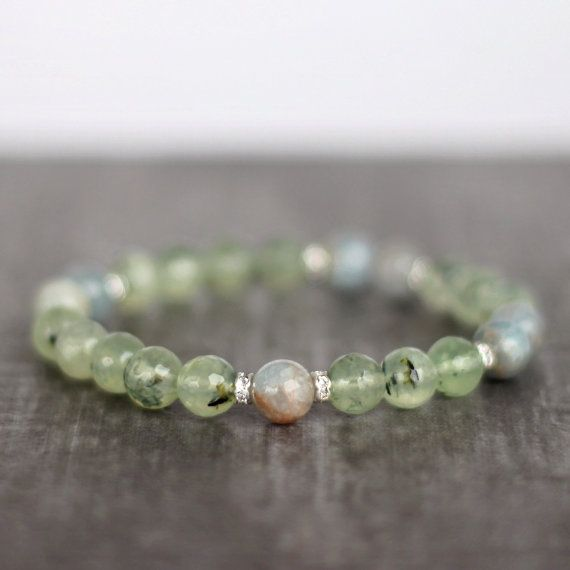Whimsical Waters Prehnite Bracelet by thebeadedchickadee on Etsy