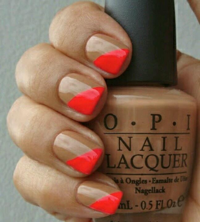 Nude   Neon orange nails