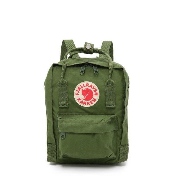 Fjallraven Kanken Mini Backpack (89 SGD) ❤ liked on Polyvore featuring bags, backpacks, leaf green, backpacks bags, detachable backpack, green bags, zipper bag and green backpack