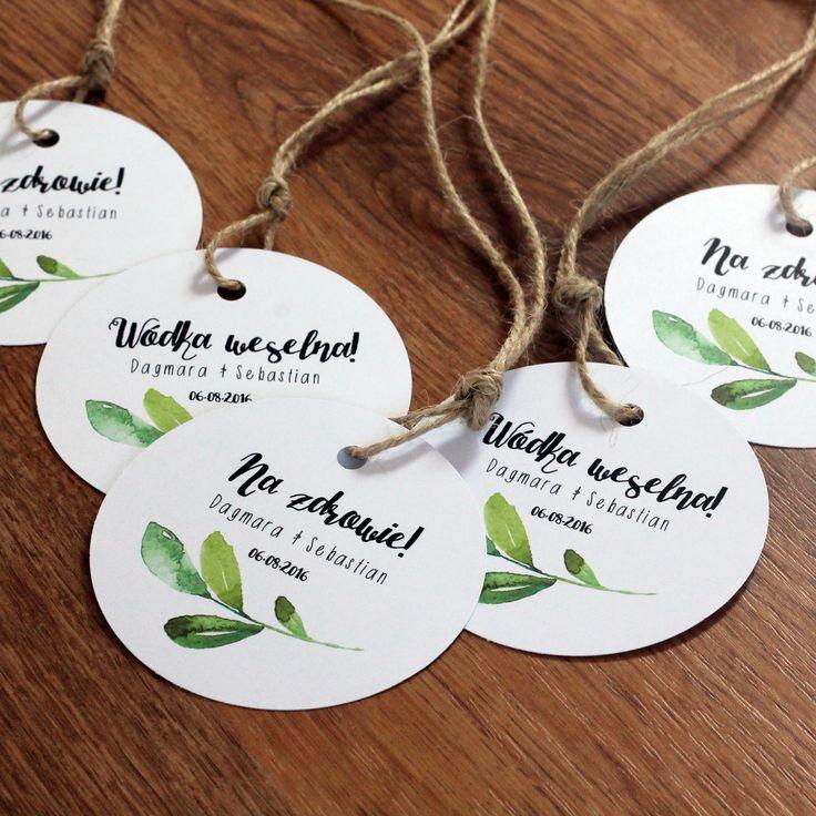 Zawieszki na wódkę weselną, alkohol ślubny, karteczki do podziękowań, karteczki z imionami gości: maagdaa2@wp.pl