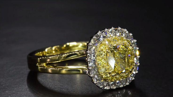 Fancy Yellow Diamond with Blaze® Diamond Halo by Bez Ambar